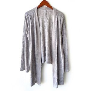 LF Miilla Grey Draped Embroidered Open Cardigan